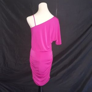 Boston Proper Dresses - Boston Proper One Shoulder Ruched Dress Fuchsia 2
